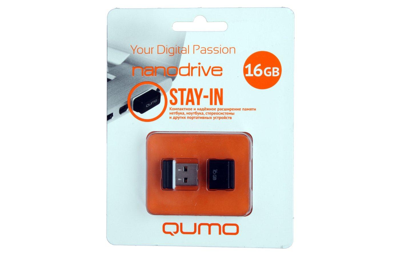 Флеш-диск USB 2.0 QUMO 16GB Nano Black