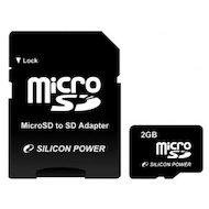 Фото Карта памяти Silicon Power microSD 2Gb + адаптер (SP002GBSDT000V10-SP)