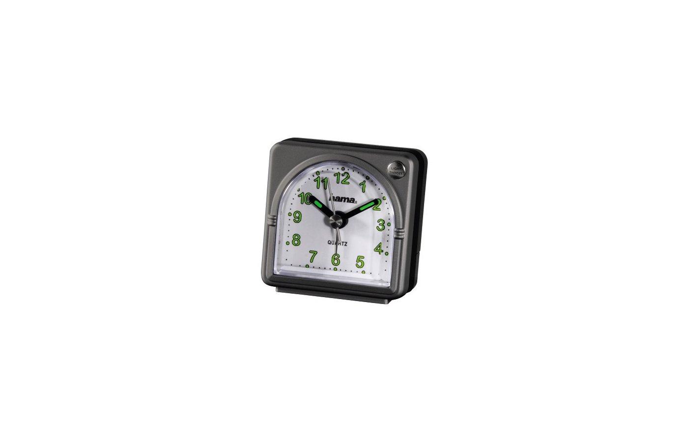 Будильник Hama H-92644 дорожный аналоговый A20 подсветка 47 г пластик серый