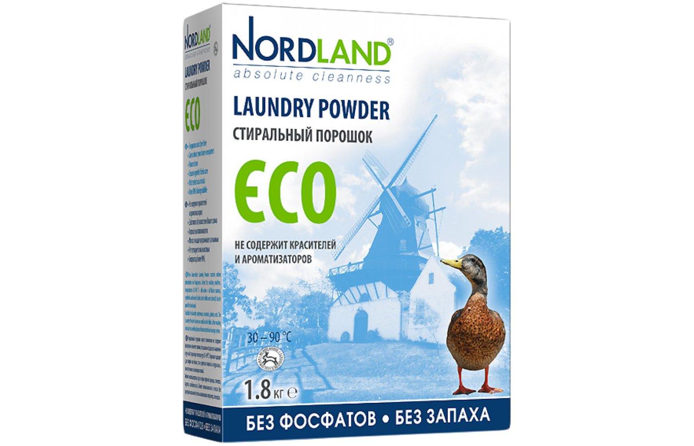 Средства для стирки и от накипи NORDLAND 104467 стиральный порошок ECO (без фосфатов) 1.8кг
