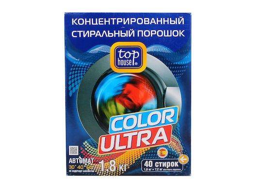 Средства для стирки и от накипи TOP HOUSE 104450 Концентрированный суперэффективный стиральный порошок Color Ultra 1.8кг