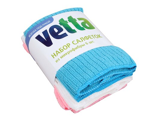 Средсва по уходу за кухней VETTA 448-009 набор салфеток из микрофибры 6шт