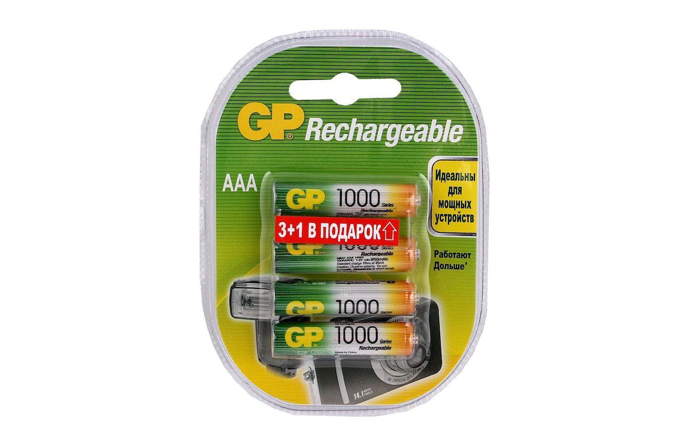 Аккумулятор GP AAA 1000mAh Ni-Mh 4шт. (100AAAHC-BB7-2CR4)