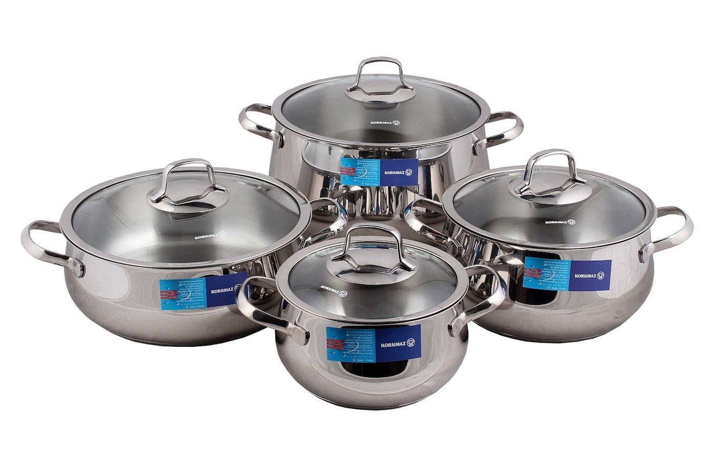 Набор посуды  KORKMAZ A1626 Набор посуды (4 кастрюли с крышками) Mona 8 pcs.