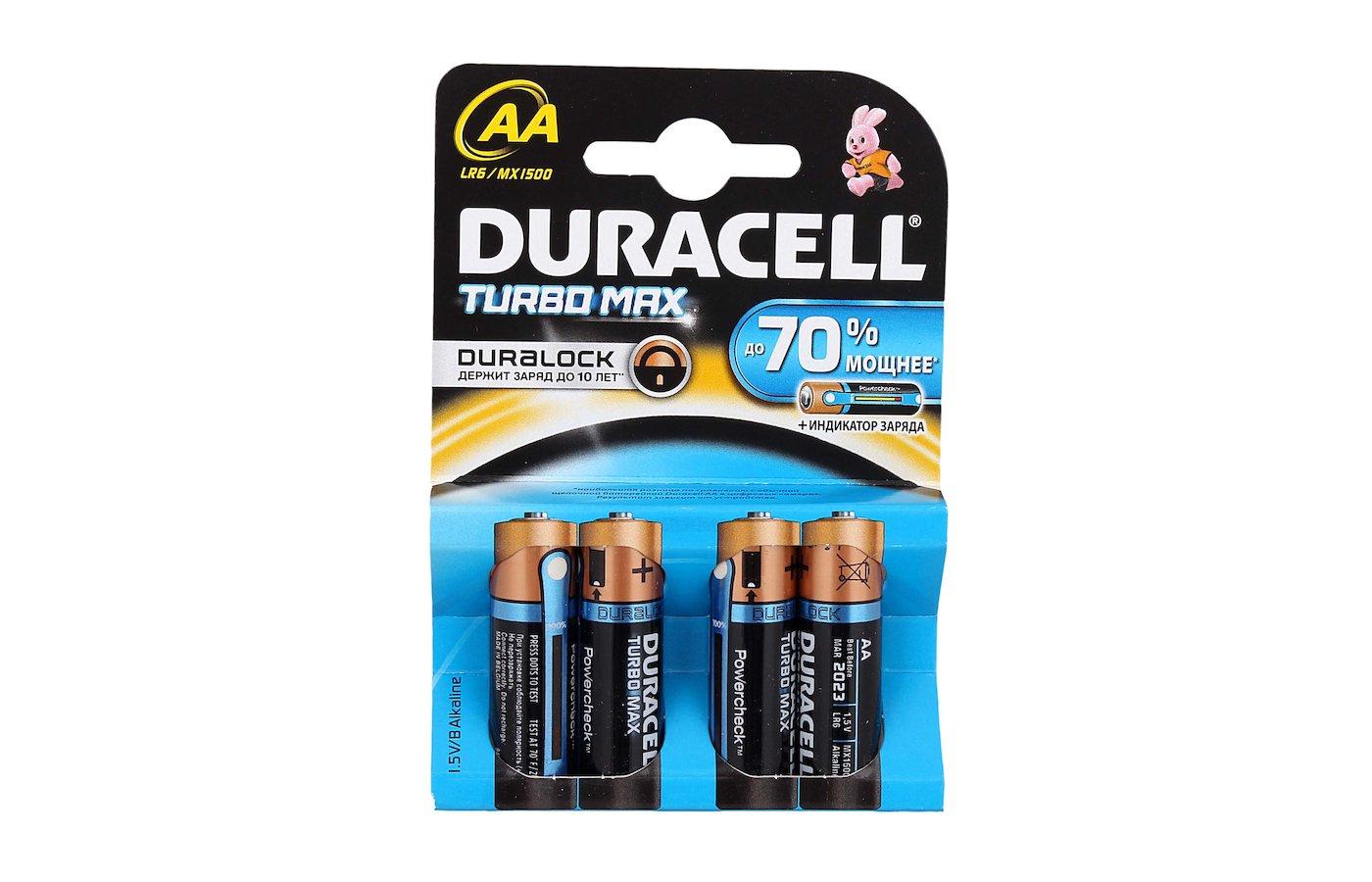 Батарейка Duracell TurboMax AA 4шт. LR6/4BL