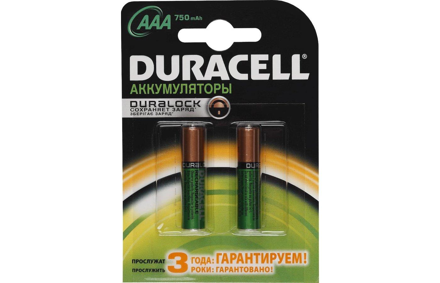 Аккумулятор Duracell AAA 750mAh Ni-Mh 2шт. (HR03-2BL)