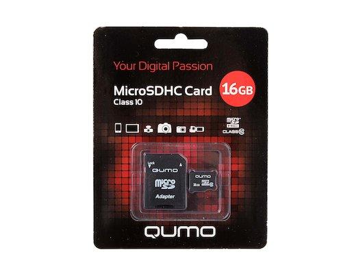 Карта памяти QUMO microSDHC 16Gb Class 10 UHS-I + адаптер