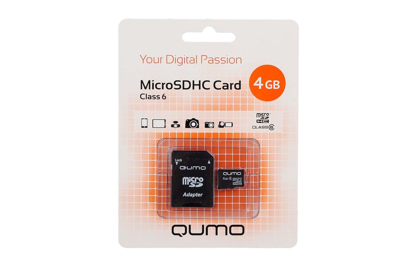 Карта памяти QUMO microSDHC 4Gb Сlass 6 + адаптер