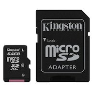 Карта памяти Kingston microSDXC 64Gb Class 10 + адаптер (SDCA10/64GB)