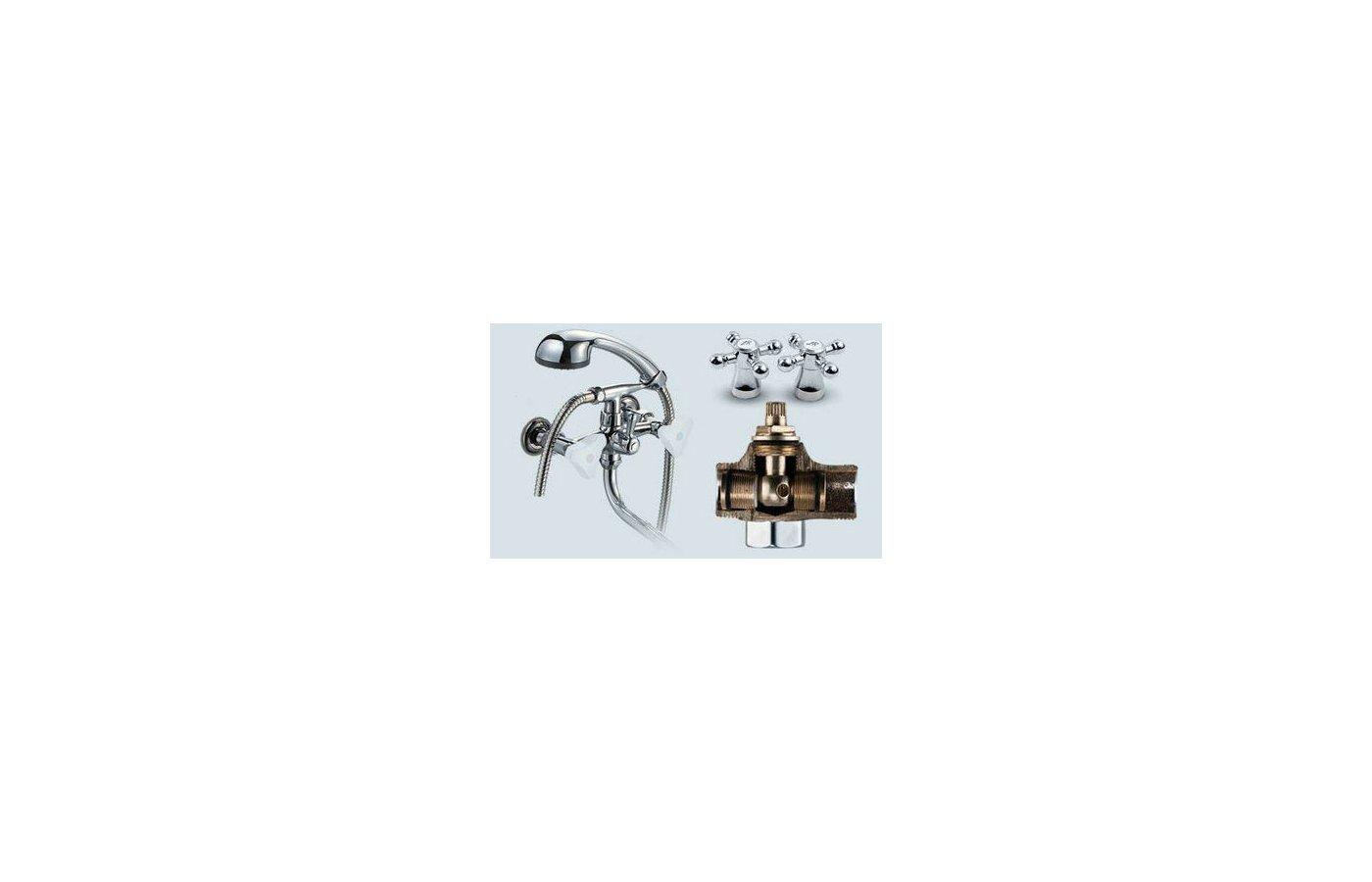 Смеситель ProfSan 521-КТ017 Смеситель для ванны ЛЮКС латунь