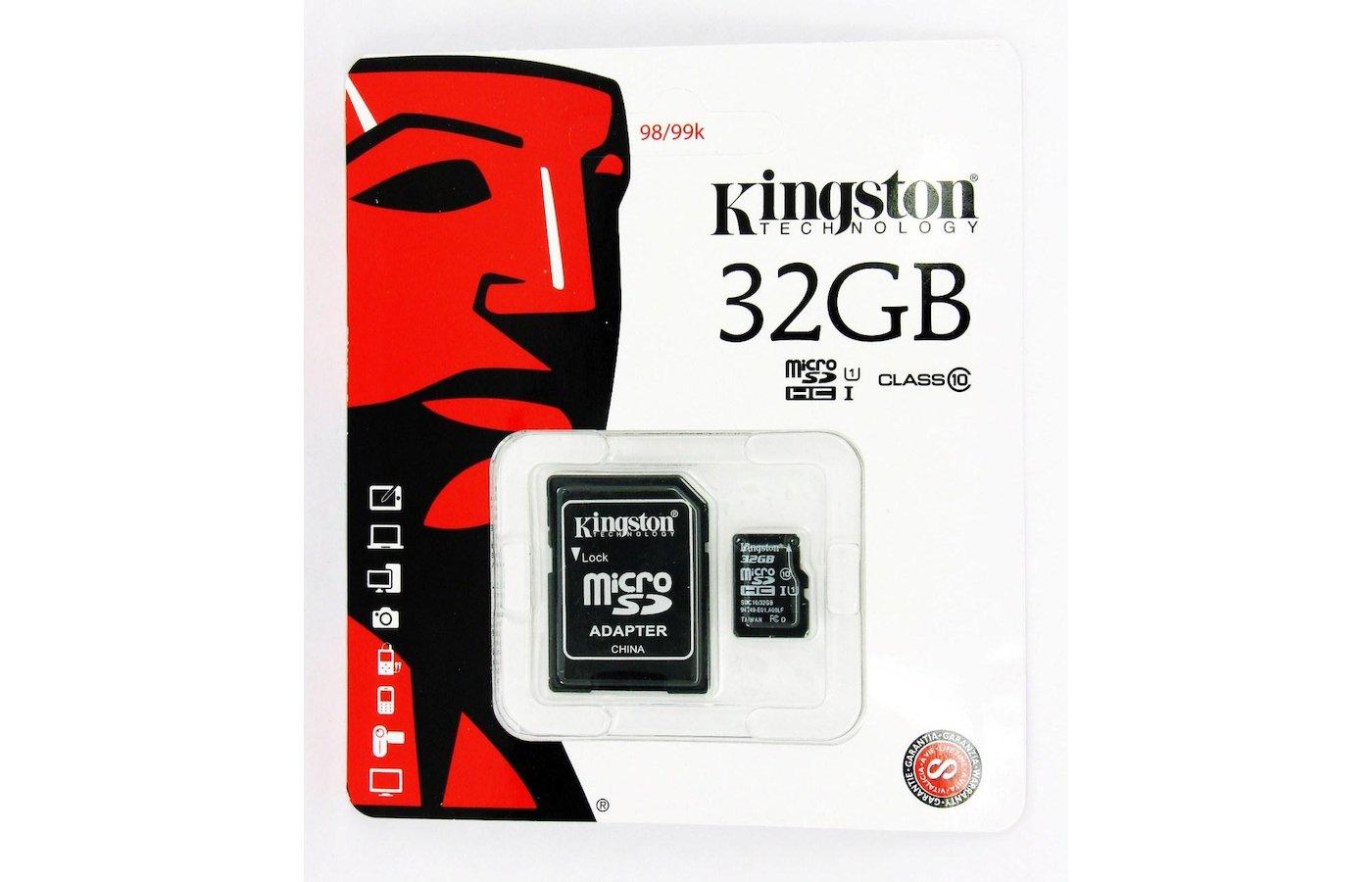 Карта памяти Kingston microSDHC 32Gb Class 10 + адаптер (SDC10/32GB)