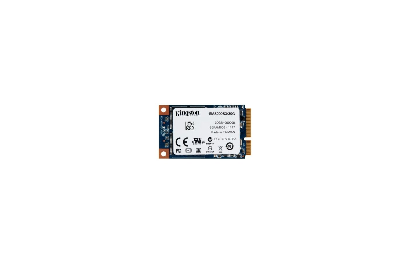 SSD жесткий диск Kingston mSATA 30Gb SMS200S3/30G SSDNow mS200 w510Mb/s r550Mb/s MLC