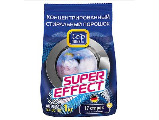 Средства для стирки и от накипи TOP HOUSE 804059 Концентрированный суперэффективный стиральный порошок Автомат 1кг в пак.