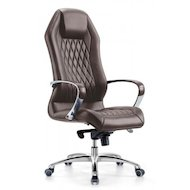 Фото Бюрократ Aura/Brown кресло руководителя, коричневый, кожа, крестовина алюминий