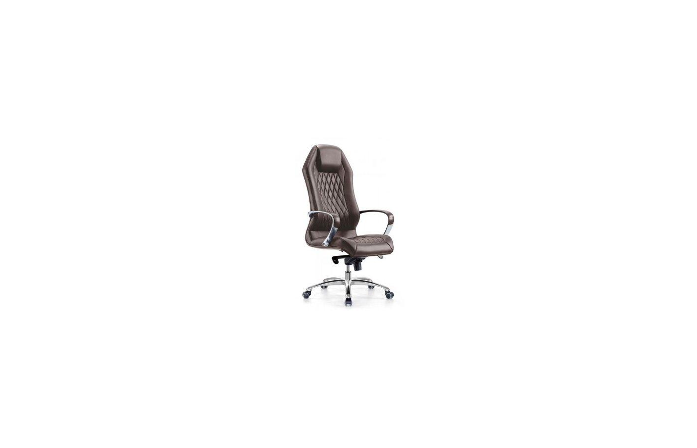 Бюрократ Aura/Brown кресло руководителя, коричневый, кожа, крестовина алюминий
