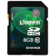 Карта памяти Kingston SDHC 8Gb Class 10 (SD10V/8GB)
