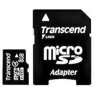 Карта памяти Transcend microSDHC 8Gb Class 4 + адаптер (TS8GUSDHC4)
