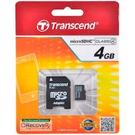 Фото Карта памяти Transcend microSDHC 4Gb Class 4 + адаптер (TS4GUSDHC4)