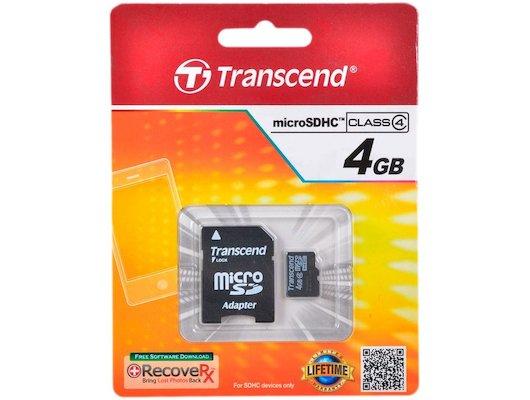 Карта памяти Transcend microSDHC 4Gb Class 4 + адаптер (TS4GUSDHC4)