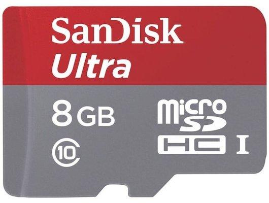 Карта памяти SanDisk microSDHC 8Gb Class 10 Android Ultra + адаптер (SDSDQUAN-008G-G4A)