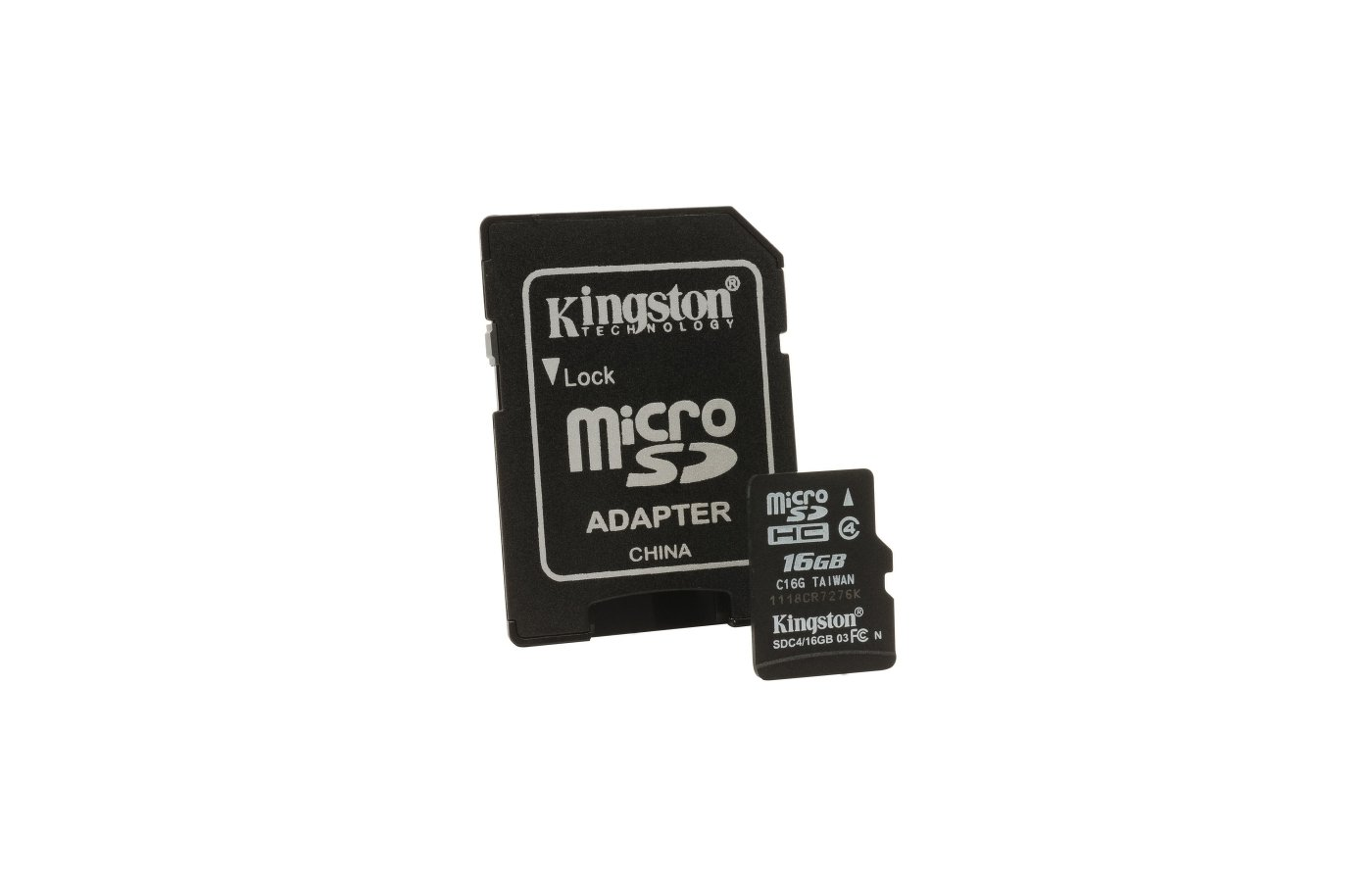 Карта памяти Kingston microSDHC 16Gb Class 4 + адаптер