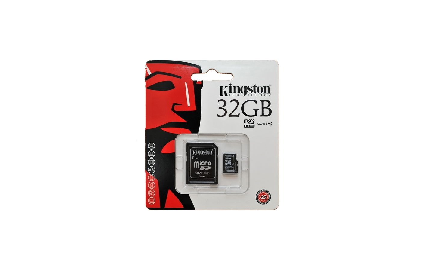 Карта памяти Kingston microSDHC 32Gb Class 4 + адаптер