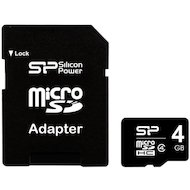 Фото Карта памяти Silicon Power microSDHC 4Gb Class 4 + адаптер (SP004GBSTH004V10-SP)