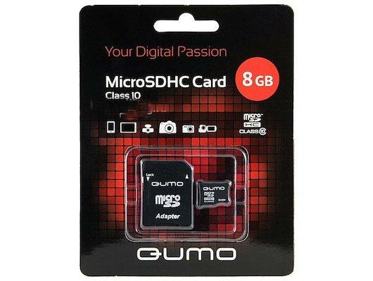 Карта памяти QUMO microSDHC 8Gb Class 10 + адаптер