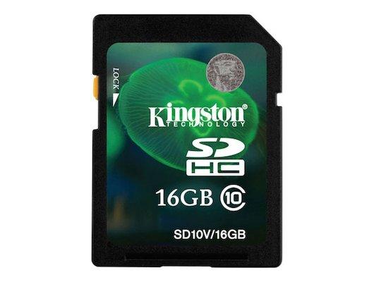 Карта памяти Kingston SDHC 16Gb Class 10 (SD10V/16GB)