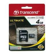Карта памяти Transcend microSDHC 4Gb Class 10 + адаптер (TS4GUSDHC10)