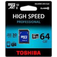 Фото Карта памяти Toshiba microSDXC 64Gb Class 10 UHS-I + адаптер (SD-C064UHS1)