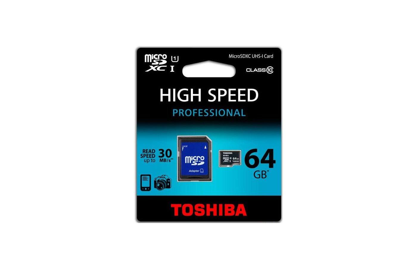 Карта памяти Toshiba microSDXC 64Gb Class 10 UHS-I + адаптер (SD-C064UHS1)