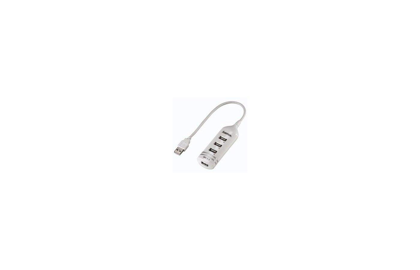 Разветвитель USB 2.0 Hama Round1:4(39788) портов:4 белый