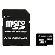 Карта памяти Silicon Power microSDHC 32Gb Class 4 + адаптер (SP032GBSTH004V10-SP)
