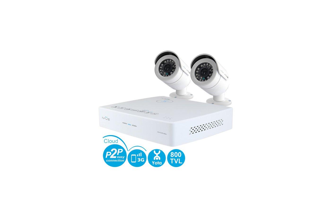 Система видеонаблюдения IVUE 6004K-2CK20-1099ICR Система Видеонаблюдения Mini 960Н PRO 4+2 800 ТВЛ