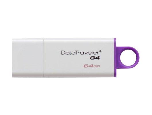 Флеш-диск Kingston 64Gb DataTraveler G4 DTIG4/64GB USB3.0 белый фиолетовый