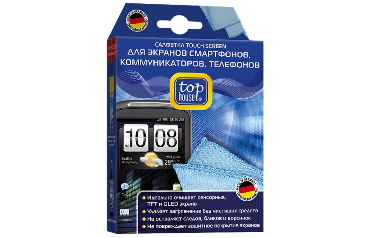 Чистящее средство ТОП ХАУС Салфетка TOUCH SCREEN для смартфонов 15х20см 320г/м2 (699845)