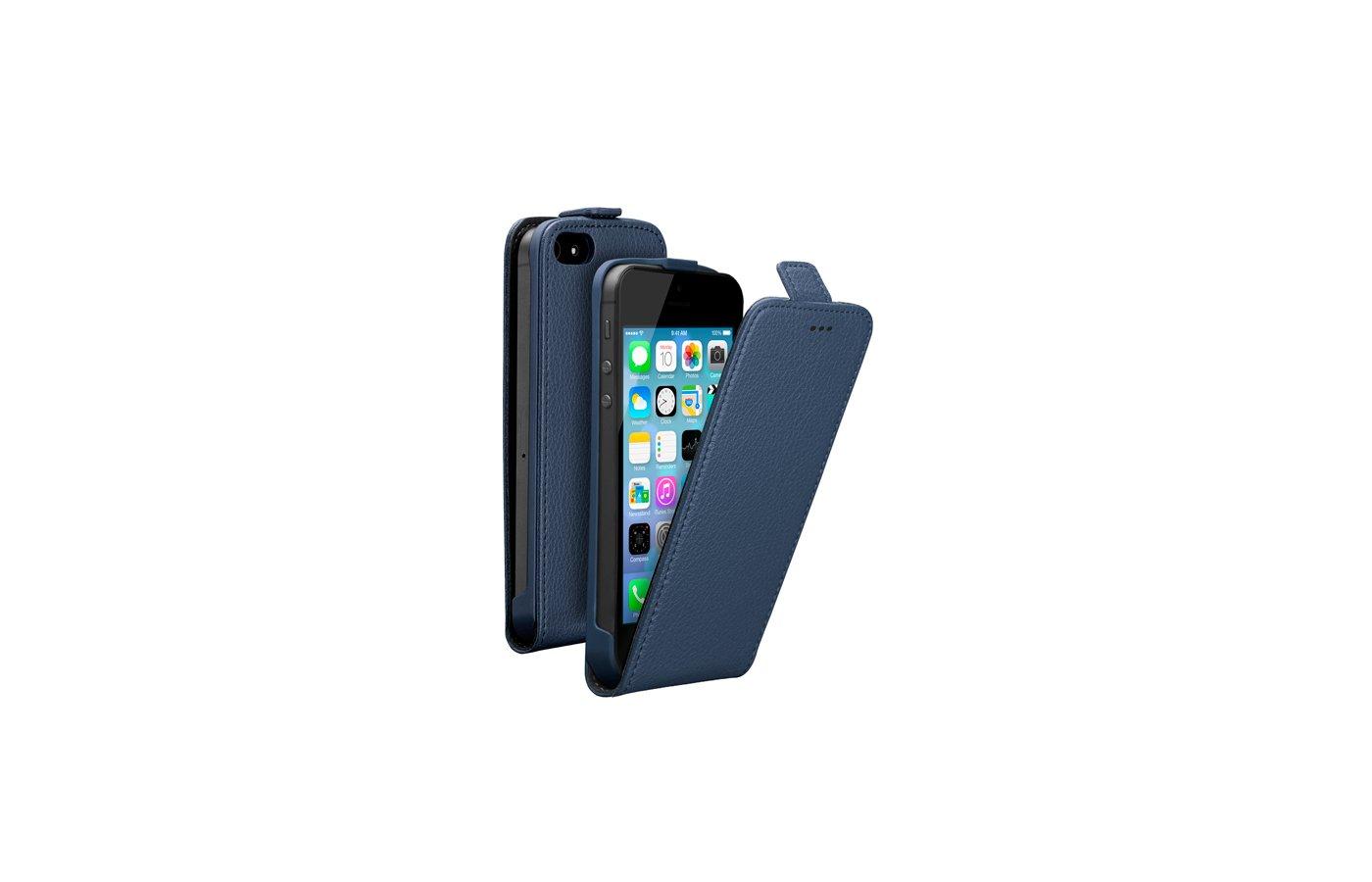 Чехол Deppa Flip Cover для iPhone 5/5S/SE синий магнит (81020)