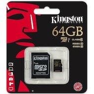 Фото Карта памяти Kingston microSDXC 64Gb Class 10 + адаптер (SDCA10/64GB)
