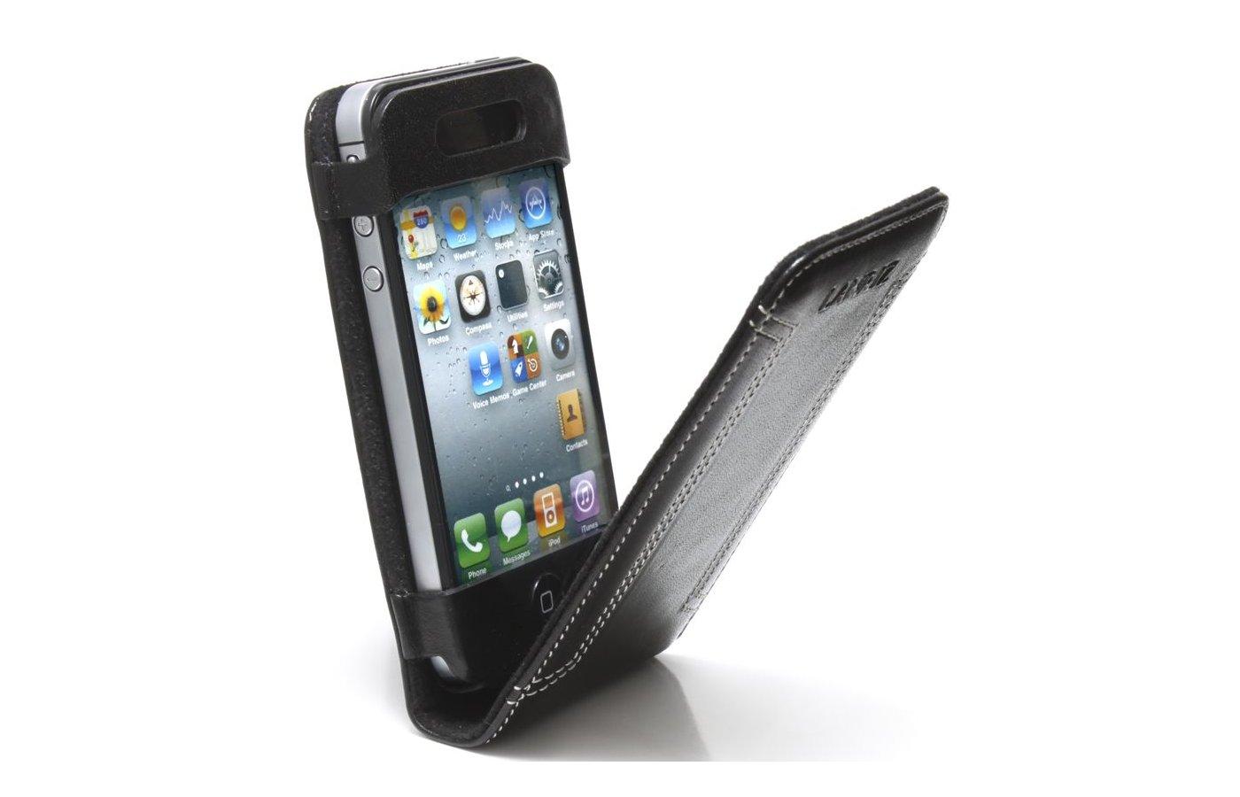 Чехол Lanriz Magnet Flipper для iPhone 4/4S кожа черный (LIPHONE4MFBL)