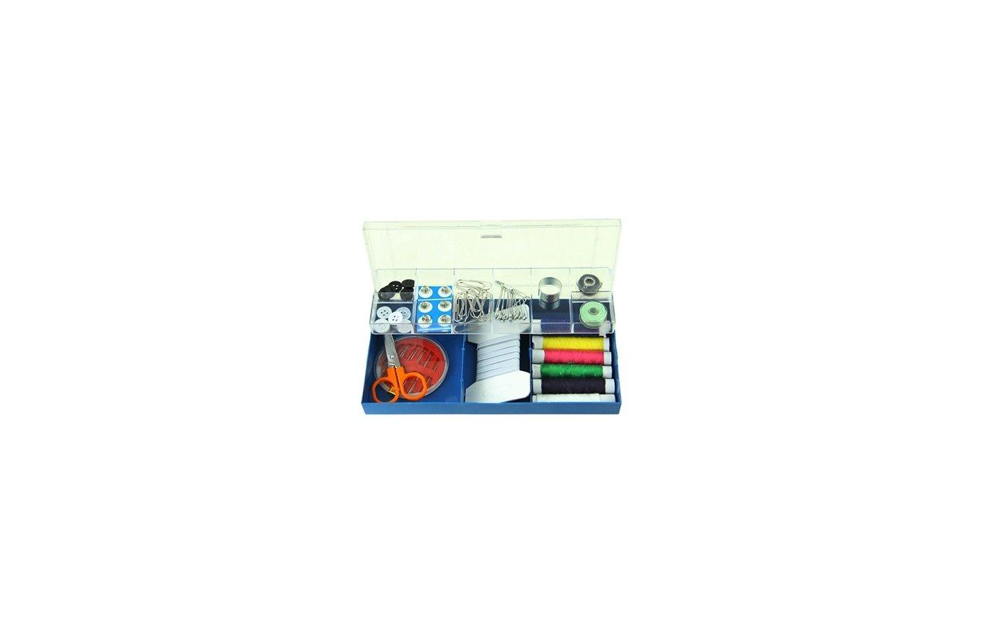 Аксессуары для швейных машин 308-114 Набор для шитья (нитки шпульки кнопки булавки ножницы иголки) 175х4х9см в плас. кор.
