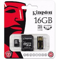 Фото Карта памяти Kingston microSDHC 16Gb Class 10 + адаптер + USB reader (MBLY10G2/16GB)