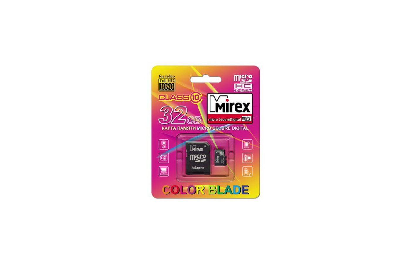 Карта памяти Mirex microSDHC 32Gb Class 10 + адаптер