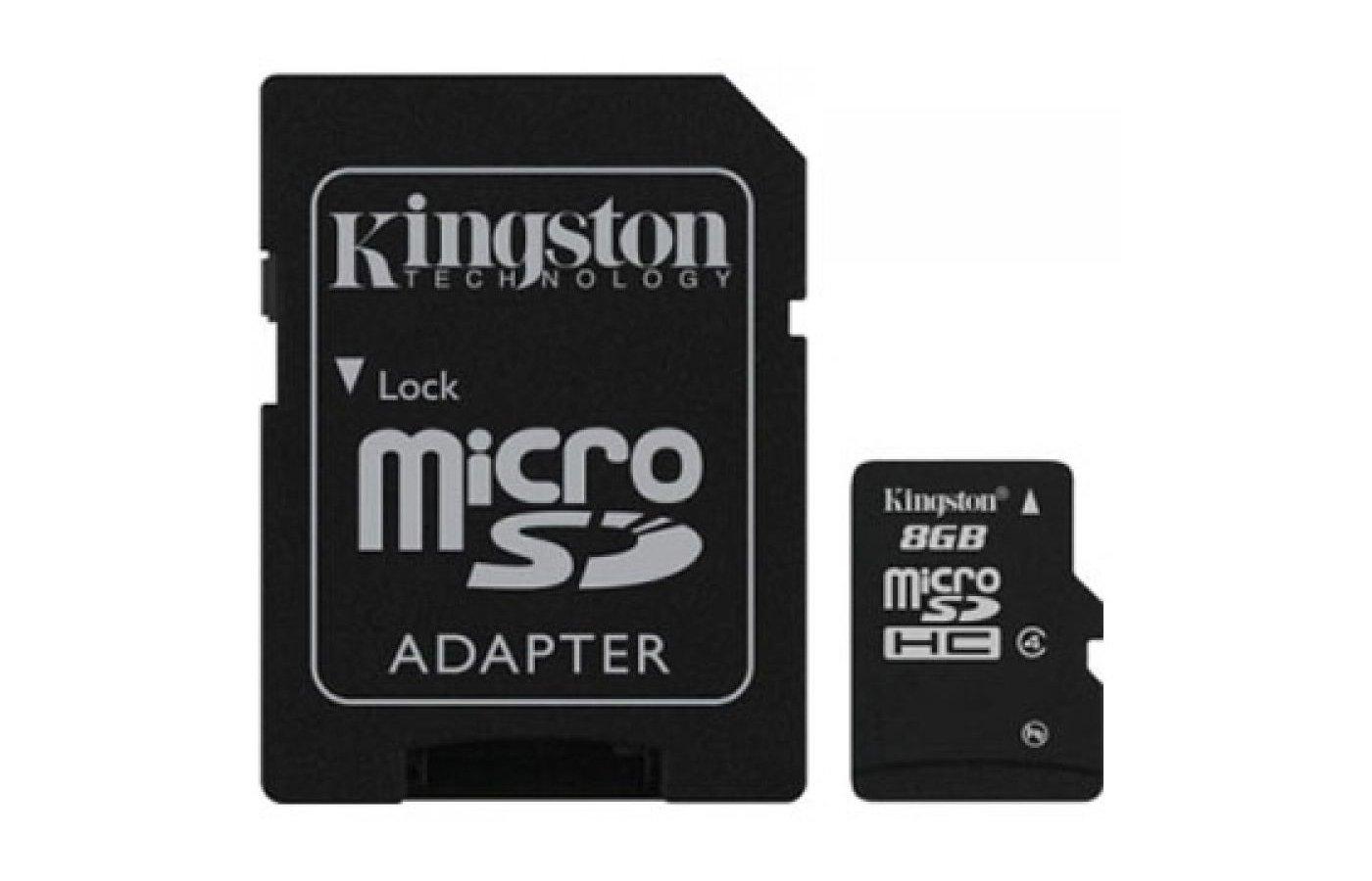 Карта памяти Kingston microSDHC 8Gb Class 4 + адаптер