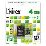Карта памяти Mirex microSDHC 4Gb Class 10 + адаптер
