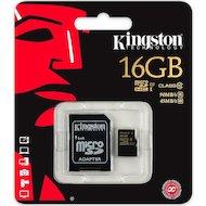 Фото Карта памяти Kingston microSDHC 16Gb Class 10 + адаптер UHS-I 90R/45W (SDCA10/16GB)