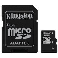 Карта памяти Kingston microSDHC 8Gb Class 4 + адаптер (SDC4/8GB)