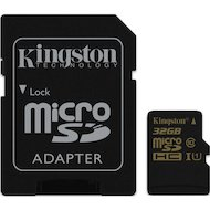 Фото Карта памяти Kingston microSDHC 32Gb Class 10 + адаптер UHS-I 90R/45W (SDCA10/32GB)