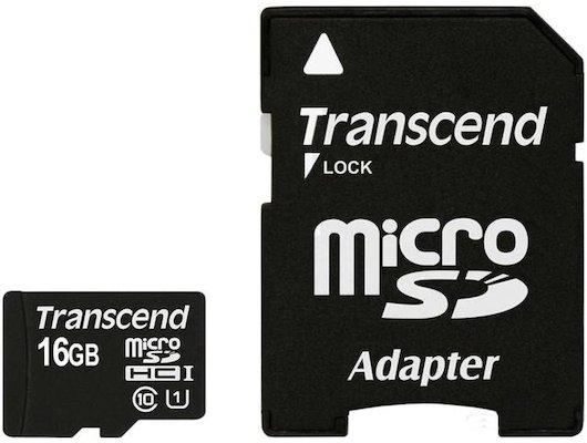 Карта памяти Transcend microSDHC 16Gb Class 10 + адаптер (TS16GUSDU1)