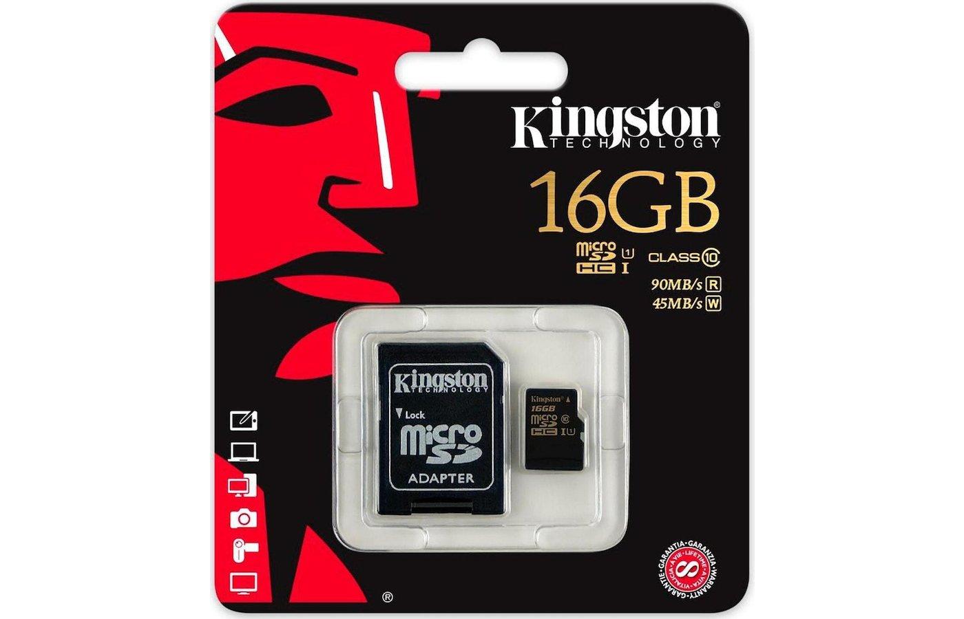 Карта памяти Kingston microSDHC 16Gb Class 10 + адаптер UHS-I 90R/45W (SDCA10/16GB)